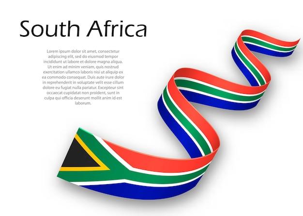 Macha wstążką lub banerem z flagą republiki południowej afryki. szablon projektu plakatu na dzień niepodległości