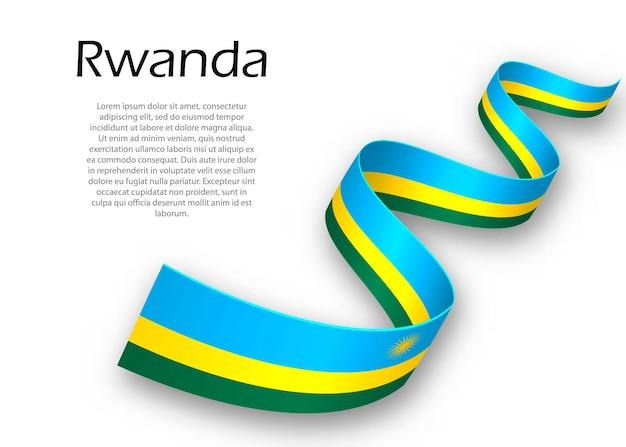 Macha wstążką lub banerem z flagą rwandy. szablon projektu plakatu na dzień niepodległości