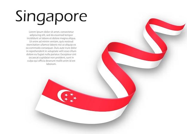 Macha wstążką lub banerem z flagą singapuru. szablon projektu plakatu na dzień niepodległości