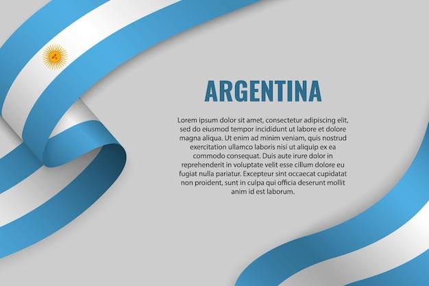Macha wstążką lub sztandarem z flagą argentyny. szablon