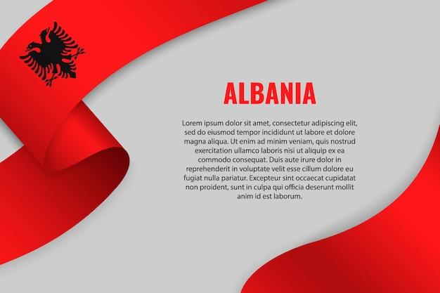 Macha wstążką lub transparentem z flagą albanii. szablon