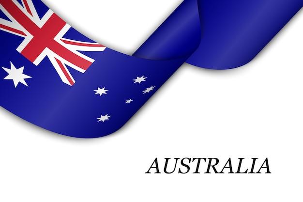 Macha wstążką lub transparentem z flagą australii.