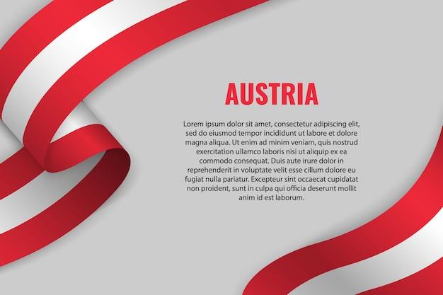 Macha wstążką lub transparentem z flagą austrii. szablon