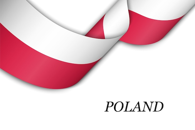 Macha wstążką z flagą polski.