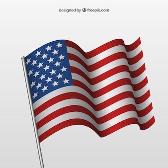 Machając amerykańską flagę