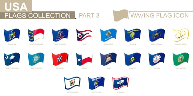 Machająca ikona flagi, flagi stanów usa posortowane alfabetycznie, od stanu nowy jork po wyoming. ilustracja wektorowa.