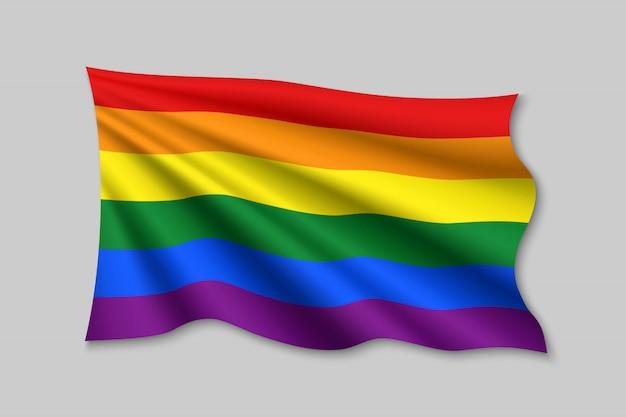 Machająca wstążka z flagą dumy lgbt.