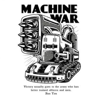 Machine war black and white