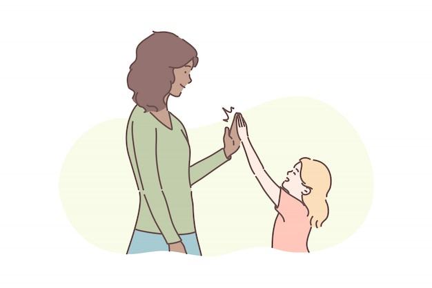 Macierzyństwo, dzieciństwo, koncepcja gratulacyjna