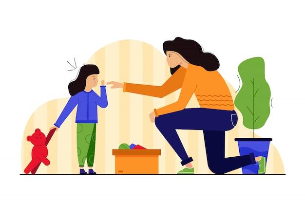 Macierzyństwo, dzieciństwo, zdrowie, opieka, trauma, koncepcja leczenia. młoda zmartwiona kobieta mama postać pomagająca w leczeniu rannego dziecka płacz córki rozpylania antyseptyków. ilustracja dzień matki.