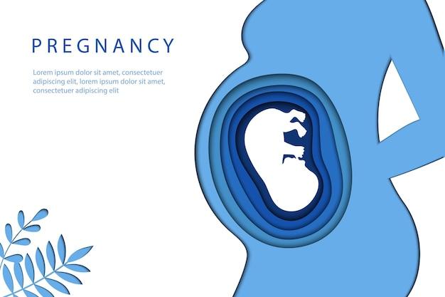 Macierzyństwo, etapy ciąży i koncepcja trymestrów. sylwetka ciała kobiety w ciąży z dzieckiem wewnątrz brzucha. minimalistyczny wzór cięcia papieru w kolorach niebieskim.