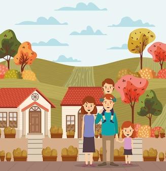 Macierzyści ojciec córki syna domy i drzewa