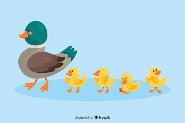 Macierzysta kaczka i jej kaczątka na wodzie