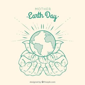 Macierzysty dzień ziemi ręka rysujący tło