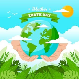 Macierzysty ziemski dzień z rękami trzyma ziemię