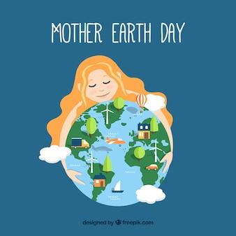 Macierzysty ziemski tło dla światowego ziemskiego dnia