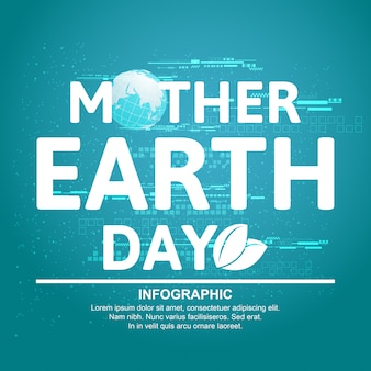 Macierzysty ziemskiego dnia pojęcie z kulą ziemską i zielenią. światowy dzień ziemi.