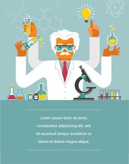 Mad scientist - ilustracja badań, biotechnologii i nauki