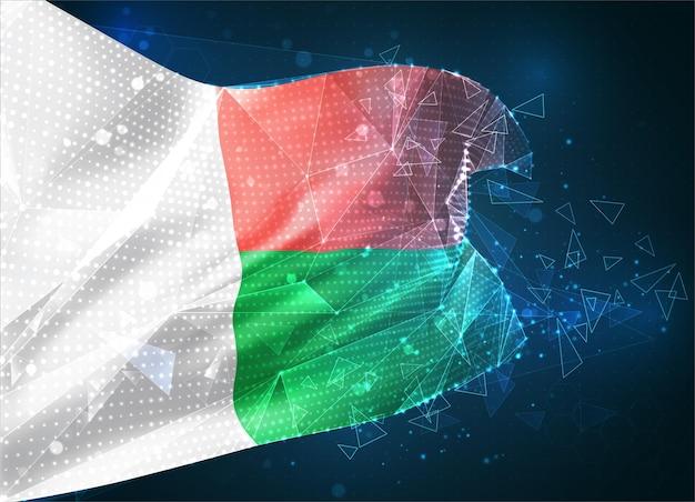 Madagaskar, flaga wektorowa, wirtualny abstrakcyjny obiekt 3d z trójkątnych wielokątów na niebieskim tle