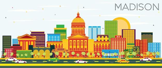Madison skyline z kolorowymi budynkami i błękitnym niebem. ilustracja wektorowa. podróże służbowe i koncepcja turystyki z nowoczesnymi budynkami. obraz banera prezentacji i witryny sieci web.