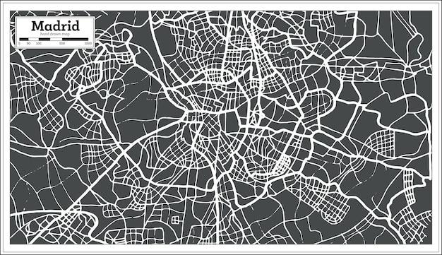 Madryt hiszpania mapa w stylu retro. ilustracja wektorowa.