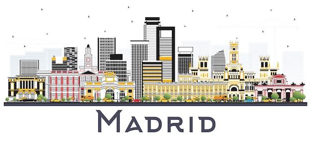 Madryt hiszpania skyline z szarymi budynkami na białym tle. ilustracja wektorowa. podróże służbowe i koncepcja turystyki z zabytkową architekturą.