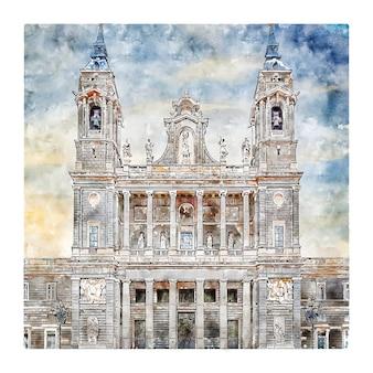 Madryt hiszpania szkic akwarela ilustracja