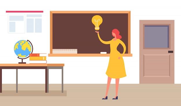 Mądrze nauczyciel stoi blisko blackboard