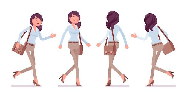 Mądrze przypadkowa kobiety pozycja chodzi i biega