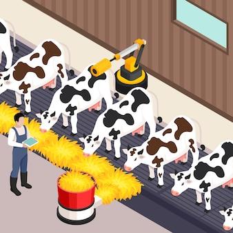Mądrze rolny ustawiający z technologii isometric odosobnioną wektorową ilustracją