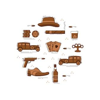 Mafia symbole linii w kółku