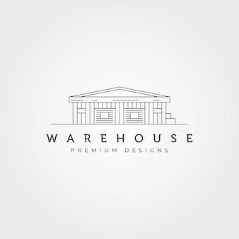 Magazyn budynku linii sztuki ikona logo wektor symbol ilustracja projekt, styl sztuki linii