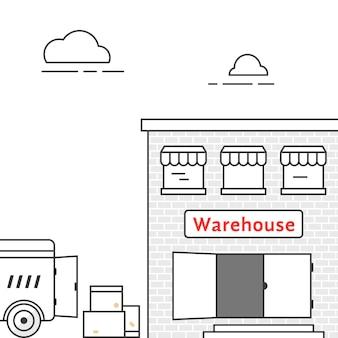 Magazyn cienkoliniowy z pojazdem dostawczym. koncepcja ciężarówki, magazynu, zajezdni, tranzytu ciężarówek, import eksport, furgonetka, kurier. na białym tle styl liniowy trend nowoczesny design ilustracji wektorowych