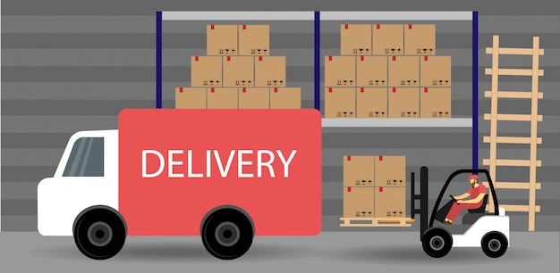 Magazyn dostaw proces logistyczny. wózek widłowy ładuje paczki do ciężarówki. płaski styl.