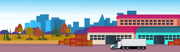 Magazyn ładunek naczepa logistyka załadunek dostawa koncepcja transportu międzynarodowa wysyłka