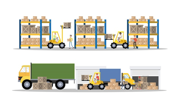 Magazyn lub wnętrze budynku usług dostawczych z ciężarówką i wózkiem widłowym. pracownicy z kontenerami i skrzyniami. firma transportowa z magazynem pudełkowym. ilustracja