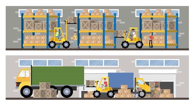 Magazyn lub wnętrze budynku usług dostawczych z ciężarówką i wózkiem widłowym. pracownicy z kontenerami i skrzyniami. firma transportowa z magazynem pudełkowym. płaskie ilustracji wektorowych na białym tle