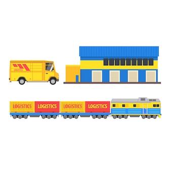 Magazyn, pociąg towarowy i autobus