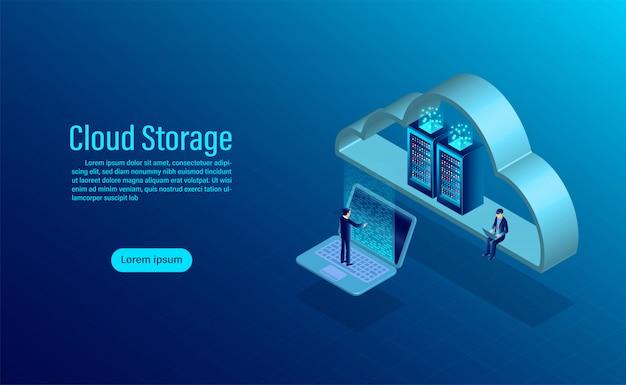 Magazyn w chmurze. online storage computing storage. izometryczny płaski kształt