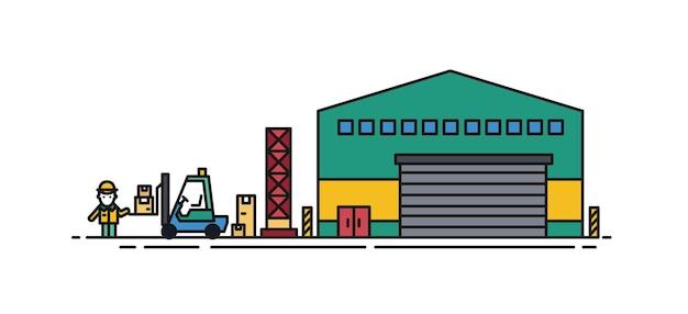 Magazyn z bramami rolowanymi, obok którego stoi wózek widłowy i pracownik ładowarki. budynek handlowy do przechowywania towarów na białym tle. ilustracja wektorowa kolorowy w stylu sztuki linii.