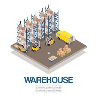 Magazyn z wózkami widłowymi i izometrycznymi ciężarówkami