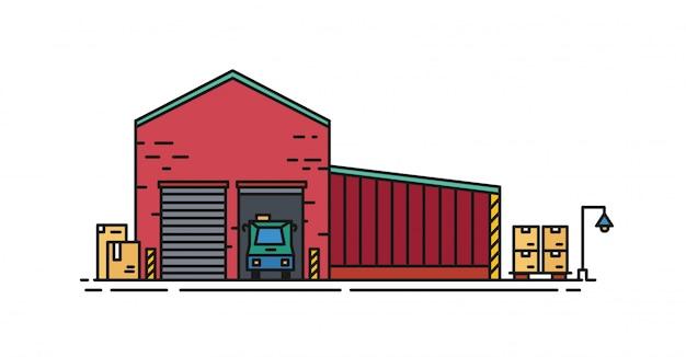Magazyn zbudowany z czerwonej cegły z bramami rolowanymi i pojazdem stojącym wewnątrz rampy załadunkowej. budynek handlowy do przechowywania towarów na białym tle. ilustracja w stylu sztuki linii.