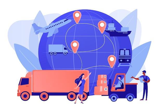Magazynier przewożący towary. rodzaje przewozów towarowych. logistyka biznesowa, inteligentne technologie logistyczne, koncepcja komercyjnej dostawy usług. różowawy koralowy bluevector ilustracja na białym tle