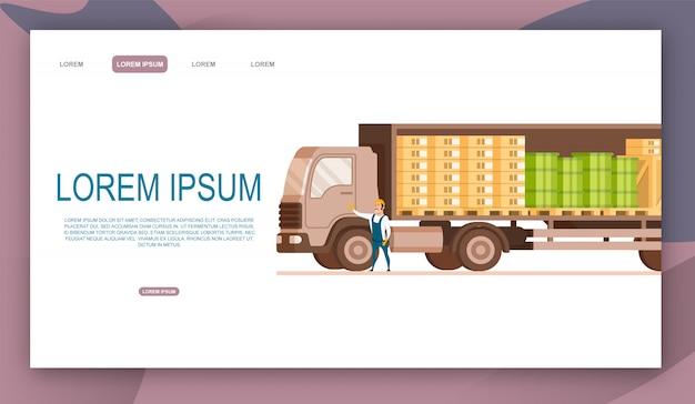 Magazynowa ekspresowa ciężarówka dostawcza z ładunkiem