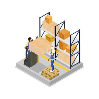 Magazynowa logistyka isometric 3d ilustracja