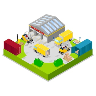Magazynowa magazynu i wysyłki logistyk wektoru ilustracja. magazynowanie i transport ładunku, dostawa i wysyłka koncepcja magazynu izometrycznego z ciężarówkami i wózkami widłowymi.