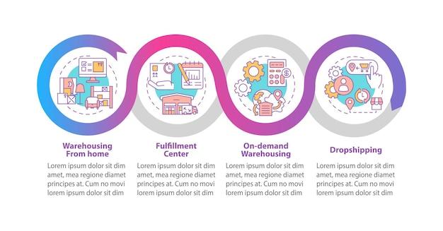 Magazynowanie z domu szablon infografiki. elementy projektu prezentacji centrum realizacji zamówień. wizualizacja danych w czterech krokach. wykres osi czasu procesu. układ przepływu pracy z ikonami liniowymi