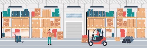 Magazynowy centrum logistyczne płaskie ilustracja koncepcja. pracownicy obsługują ładunek samochodem elektrycznym i ciężarówką. paczka i paczki na półkach. firma świadcząca usługi logistyczne.