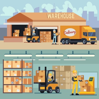 Magazynowy magazyn i wysyłki logistyki wektoru pojęcie. składowanie i transport ładunku, dostawa i wysyłka ilustracji
