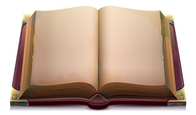 Magia otwarta książka szablon pusta strona na wakacje halloween vector